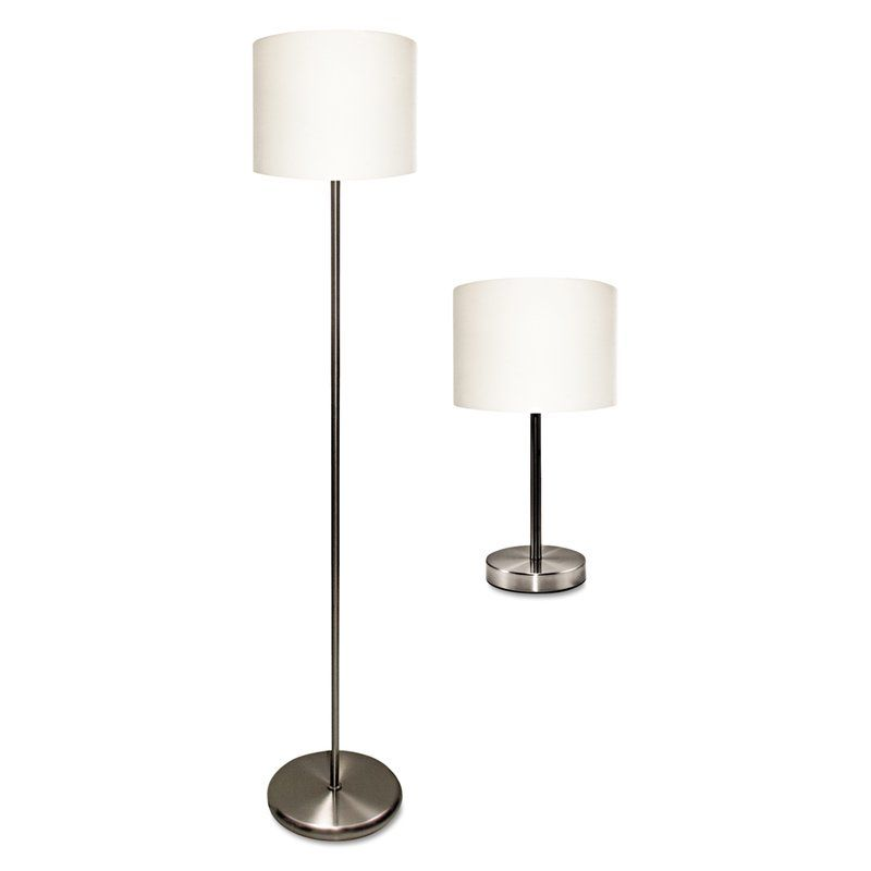 Set Includes A Table Lamp And Floor Lamp The Simple Contemporary Design Blends Seamlessly With Most Any Style Of D Eacute Cor Lamp Sets Table Lamp Sets Lamp