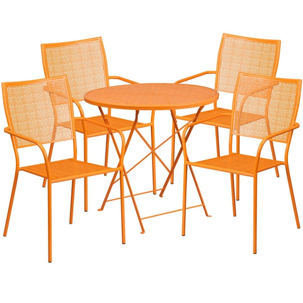 Panini 30 Inch Outdoor Patio Bistro Set With 4 Chairs