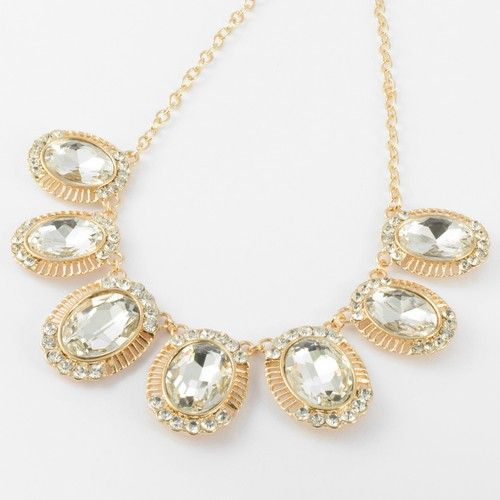 Fashion Gold Chain Oval White Crystal Glass Beads Pendant Bib Necklace