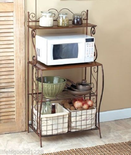 Kitchen Storage Shelves Microwave Cart Stand Shelf Bakers Rack With Baskets  #BakersRack