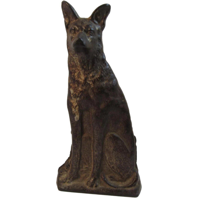 GERMAN SHEPHERD DOG Cast Iron STATUE Great as a Doorstop too!