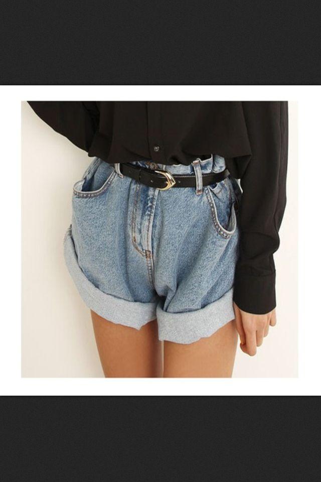 High Waisted Denim Black Shirt Black Belt Fashion High Waisted Shorts Denim Jean Short Outfits