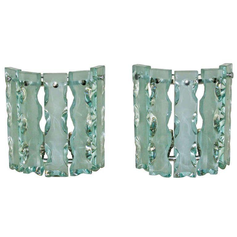 Pair Fontana Arte 'Broken Glass' Wall Sconces
