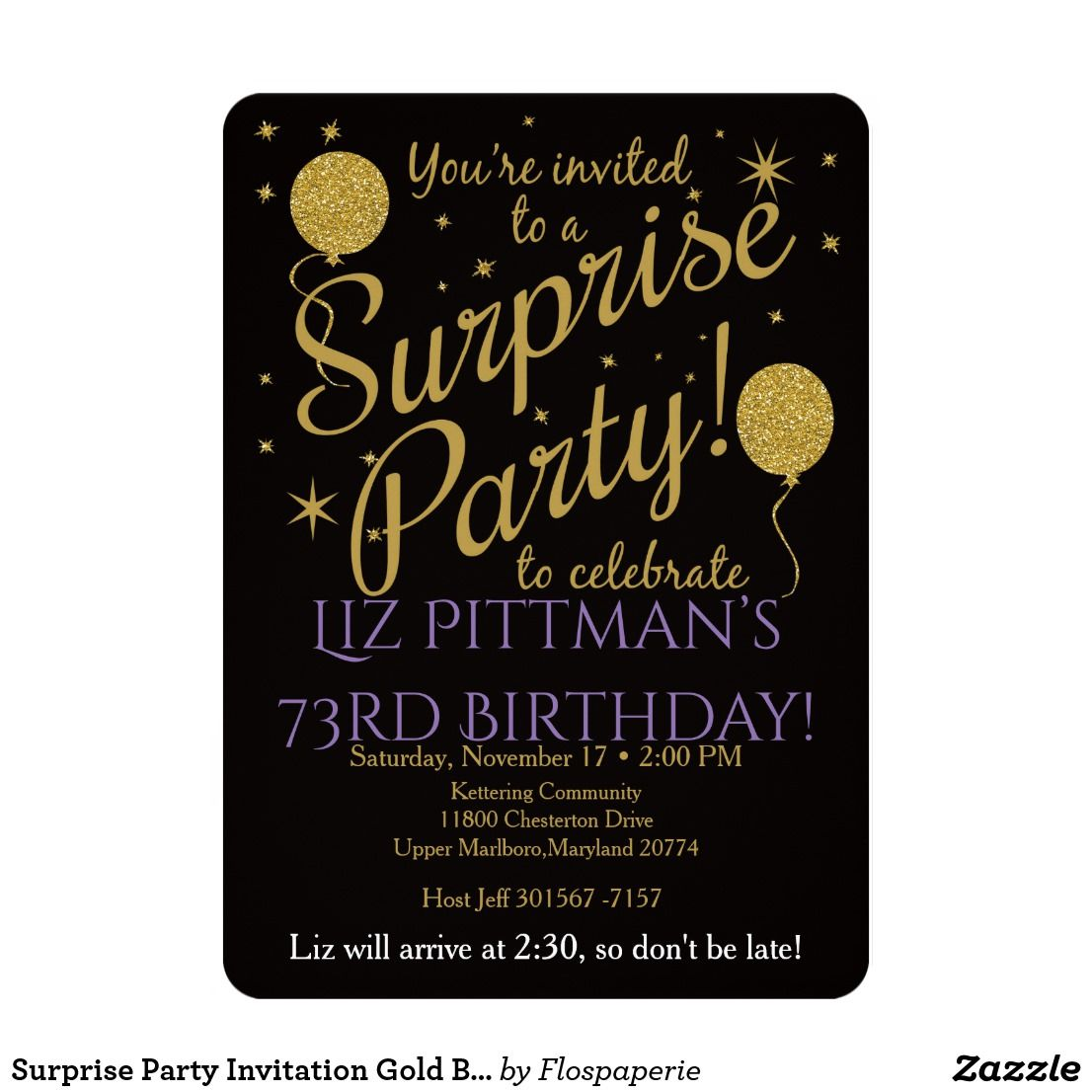 Surprise Party Invitation Gold Balloon Birthday Zazzle
