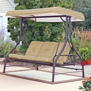 Mainstays Lawson Ridge Converting Outdoor Swing Hammock Tan Seats 3 With Images Patio Swing Canopy