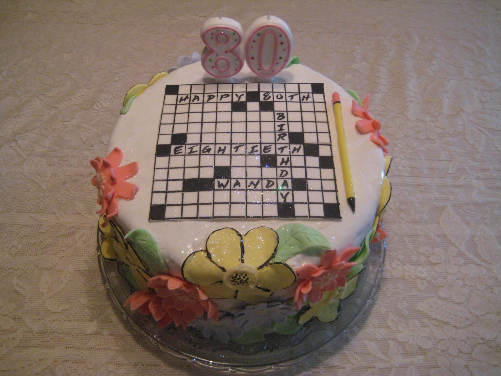 Original OOAK Crossword Puzzle Cake using edible marker for black puzzle lines. etc... and homemade marshmallow fondant!!  made this for my mom.