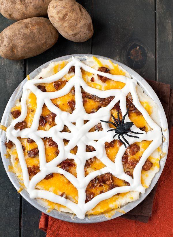 Loaded Mashed Potato CasseroleNeighborFood Halloween Recipes - halloween entree ideas