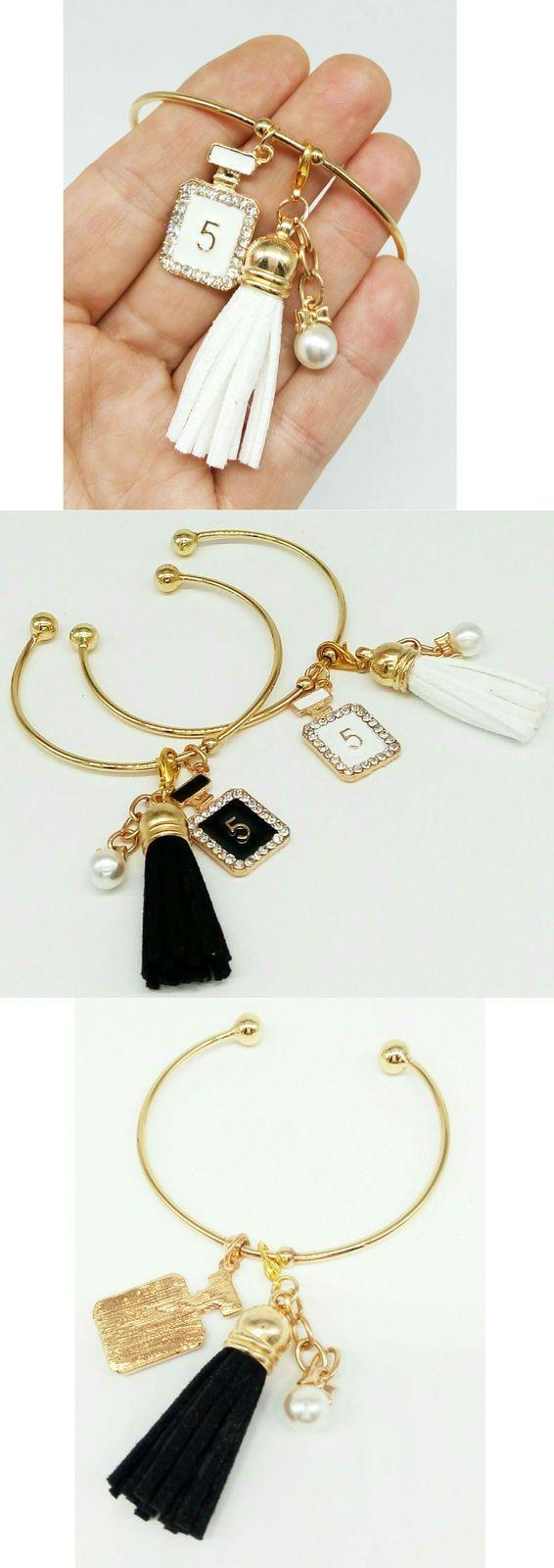 Open bangle Bracelet, charm tassel, charm spirits, pearl, gift for her - Charms…