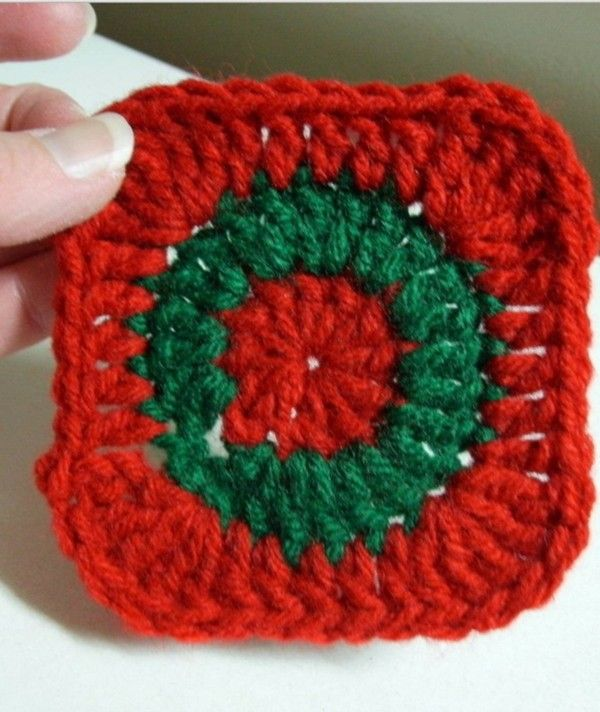 Christmas Table Knit Coaster Cute Christmas Red Blue Cup Mat
