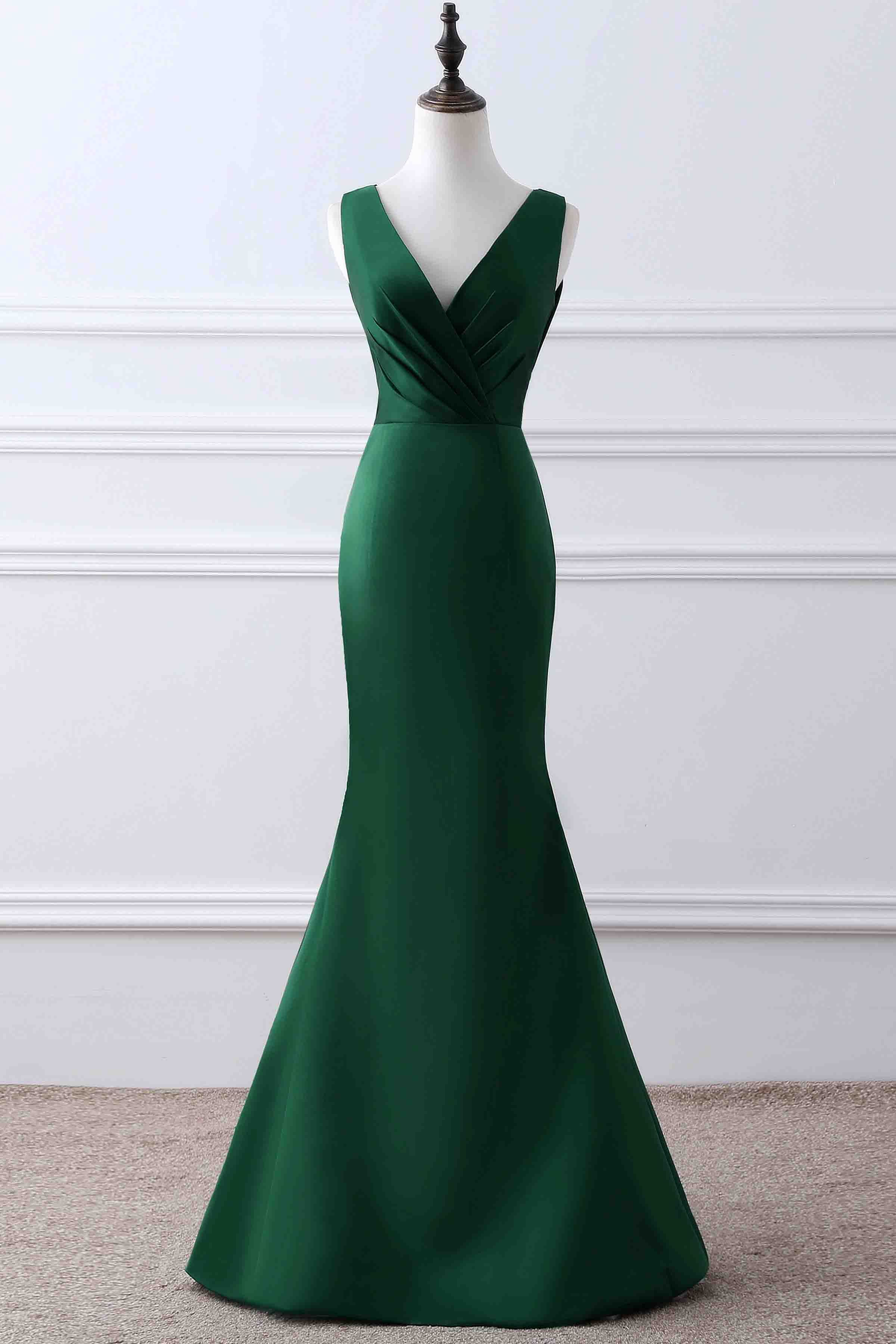 Green dress for wedding party  Simple green matte satin prom dress ball gown elegant vneck long