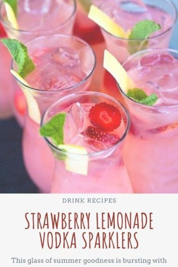 Strawberry Lemonade Vodka Sparklers, Drink recipes, Drink nonalcoholic, Drink alcoholic, Drink for kids, summer Drink, coffee Drink, Party Drink, Healthy Drink, Fall Drink, Drink smoothies, holiday drink recipes #healthydrink #easyrecipe #vodka #strawberry #lemonade #nonalcoholicsummerdrinks - Gesunde