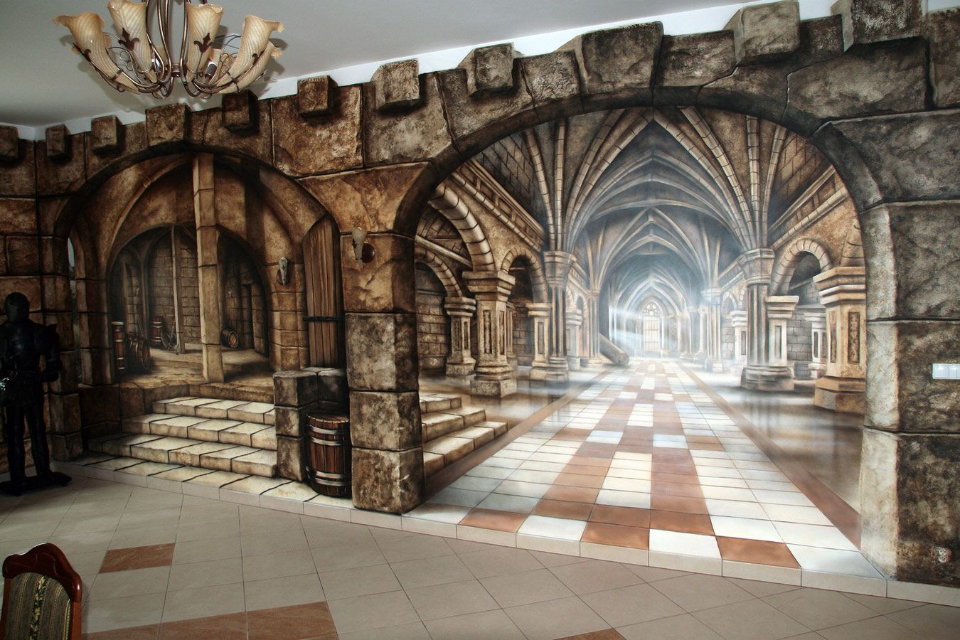 Medieval theme mural 1350 900 omg this is for Castle mural wallpaper