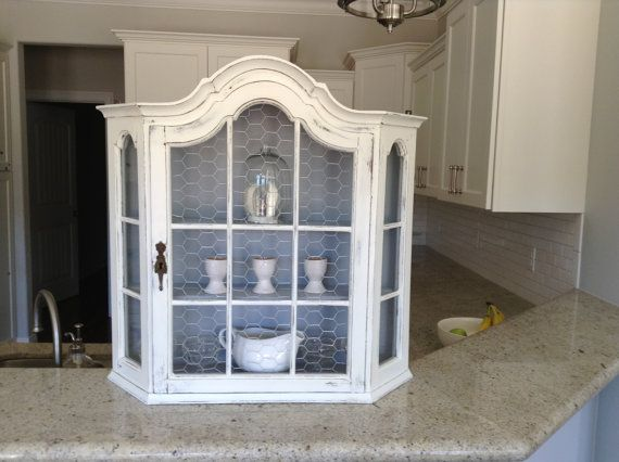 Large Hanging Wall Cabinet Antique French Farmhouse Style Great