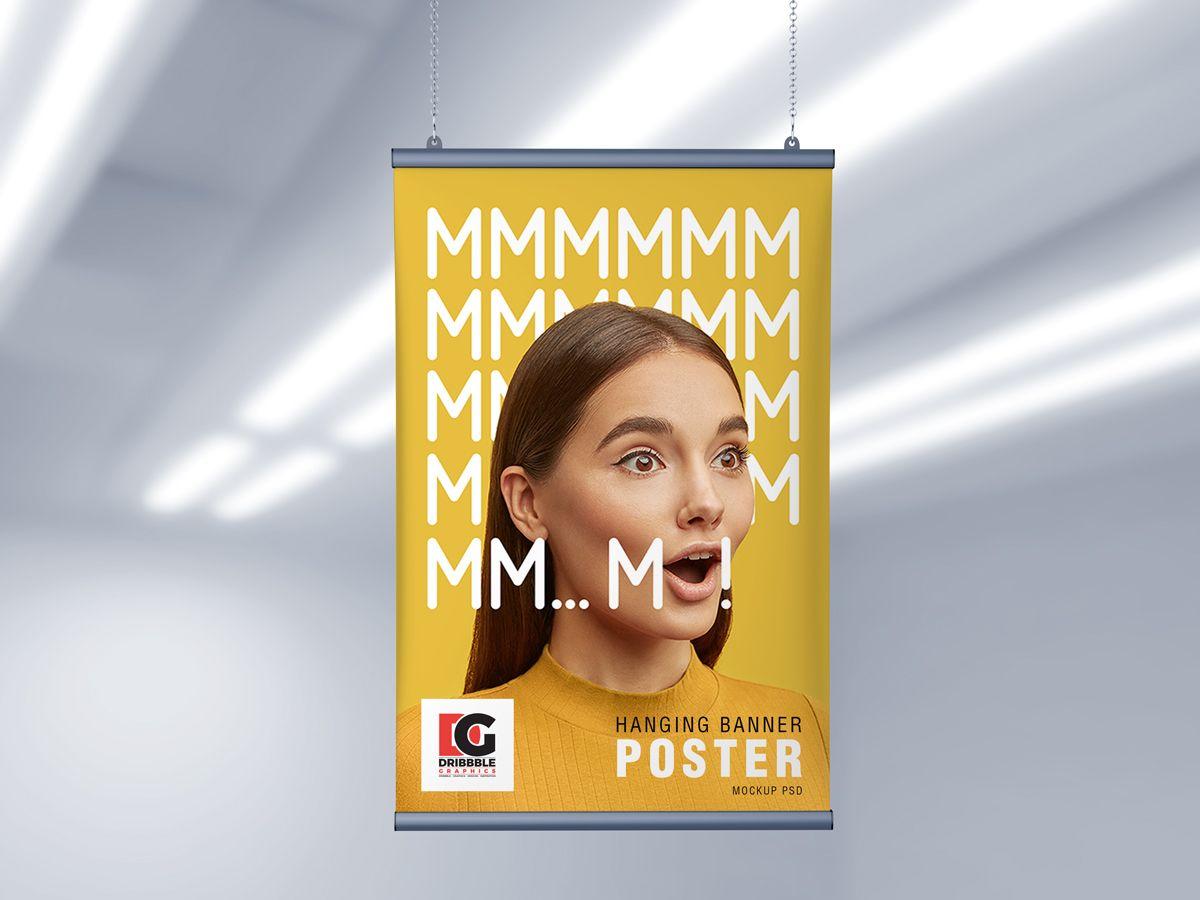 Dwonload Free Ceiling Hanging Banner Poster Psd Mockup Poster Mockup Poster Mockup Psd Hanging Banner