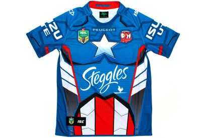 2102f9eb6cb Sydney Roosters 2014 NRL Captain America Marvel Ltd Edition S/S Replica Rugby  Shirt
