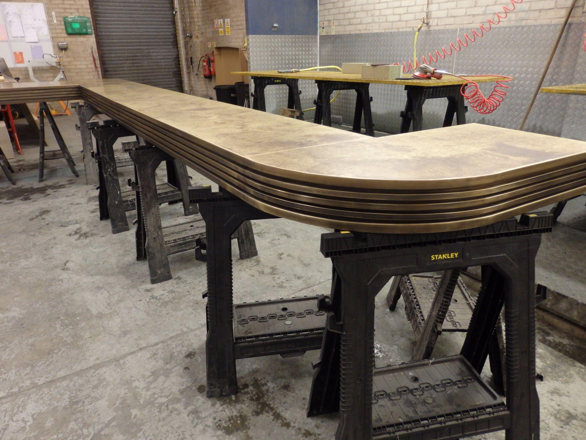 110 Bespoke Brass Bar Top With Images Bar Counter Design Metal Bar Top
