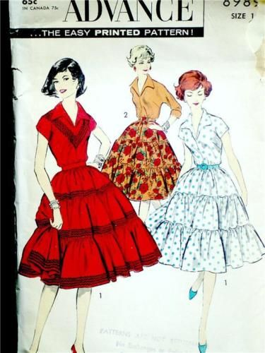 FAB-VTG-50s-SQUARE-DANCE-SKIRT-KIMONO-SLV-BLOUSE-Misses-Sewing ...