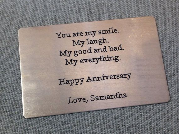 Mens Wedding Anniversary Gift Ideas: Anniversary Wallet Card Insert, Gift For Him, Mens Gifts
