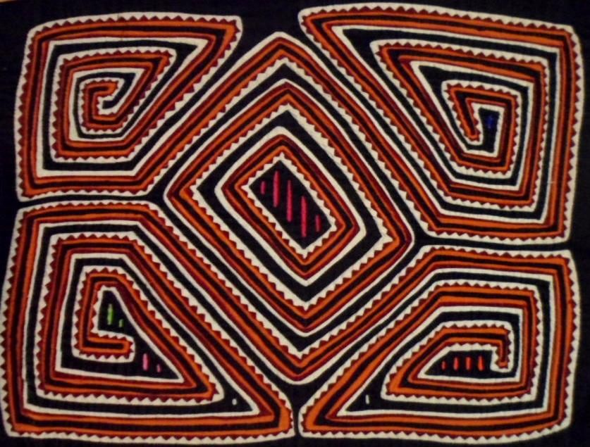 Kuna Indian Hand-Stitched Maze Mola Art-Panama 17092012mm