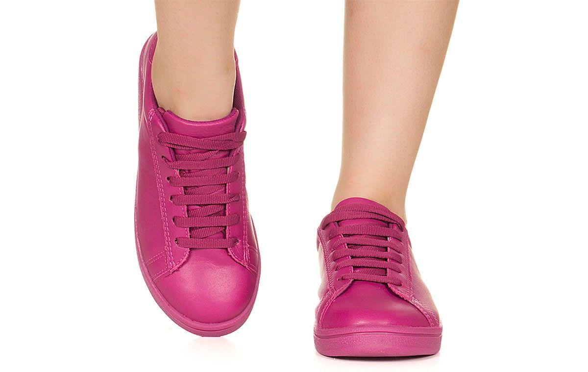 a3e098586a Tênis fúcsia monocolor Taquilla Lojas De Calçados Femininos
