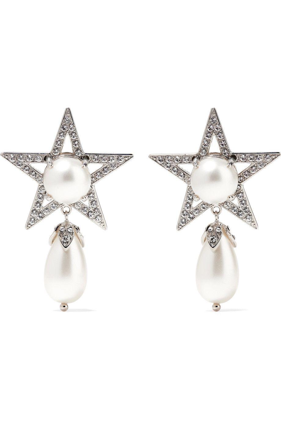 Boucles D'oreilles En Cristal Et De Fleurs De Perles - Miu Miu Métallique p13g8jnR1