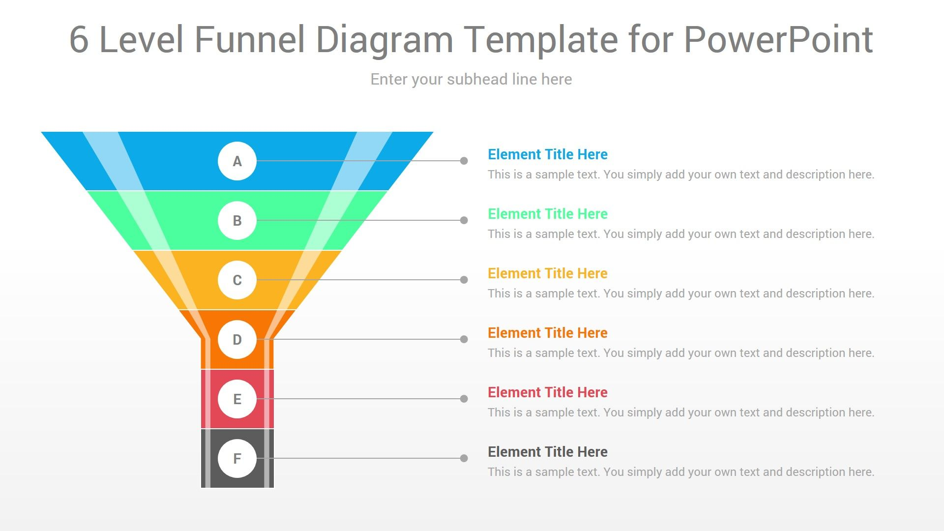 6 Level Funnel Diagram Template For Powerpoint In 2020 Powerpoint Templates Powerpoint Diagram