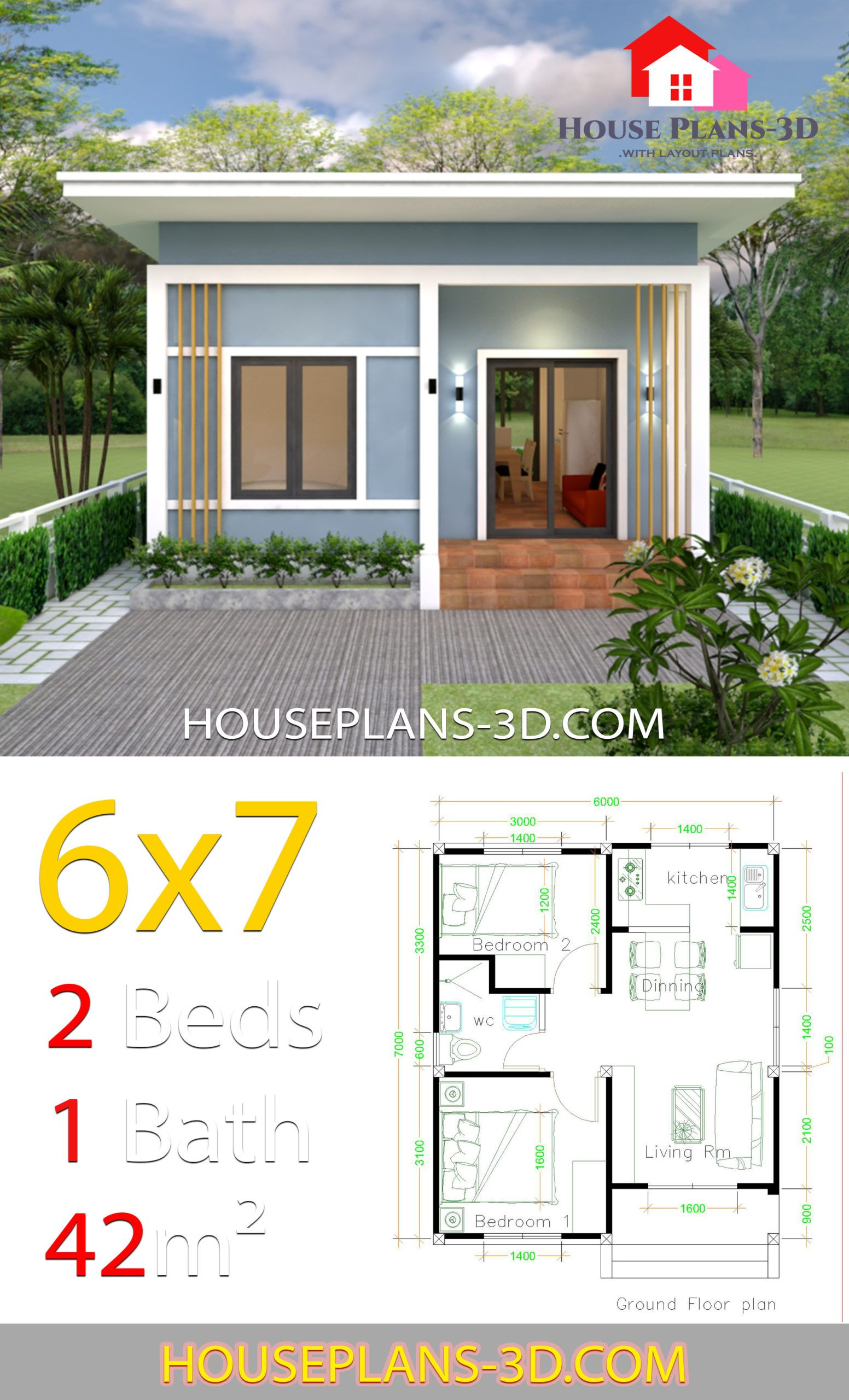 Simple House Plans 6x7 With 2 Bedrooms Shed Roof House Plans 3d House Plans Small House Layout Simple House Design