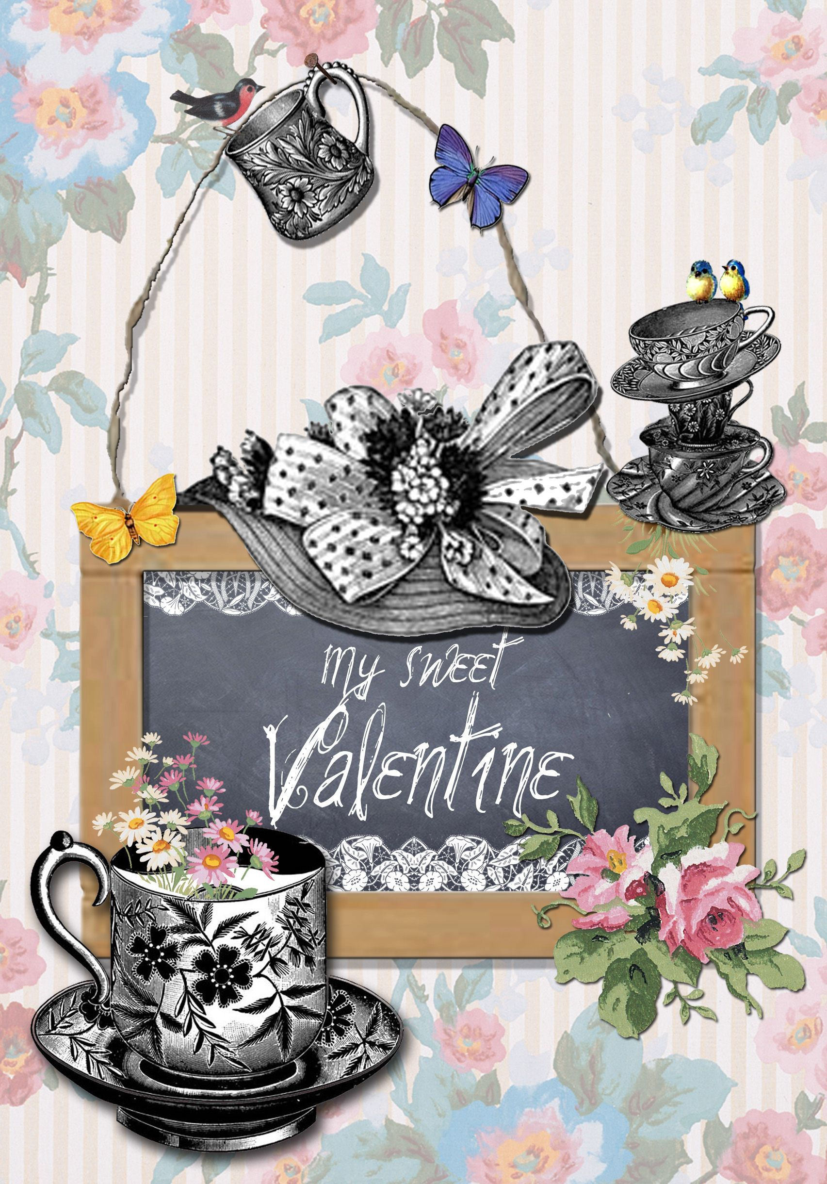 Greeting Mill Greeting cards by MOK STUDIO. Collection 'WALLPAPER', My sweet Valentine, Valentine's Day, rectangle.