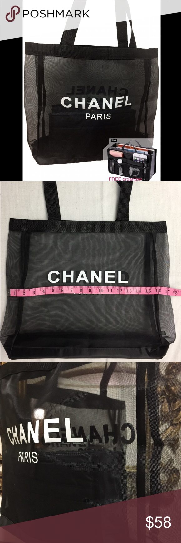 Free Organizer Chanel Vip Tote Gift Bag Brand New Large Mesh W