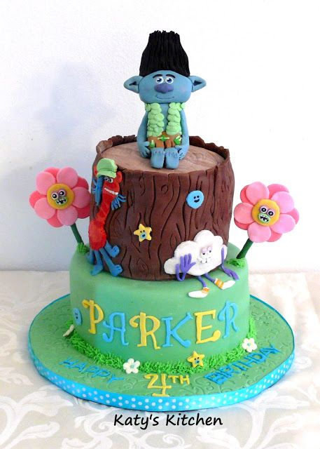 Katys Kitchen Trolls Cake featuring Branch Birthday Cakes