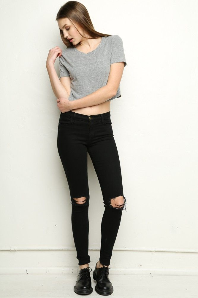Grey crop top + black jeans + black lace up shoes. Find this Pin and more  on Dream Closet by Jazz Enriquez. 8b7f0b012