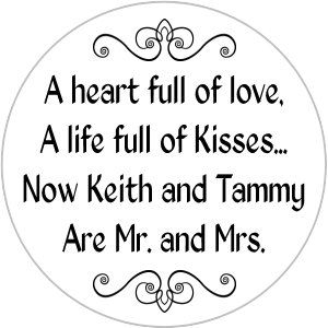Mr. and Mrs. Kisses Stickers Personalized Round Candy by