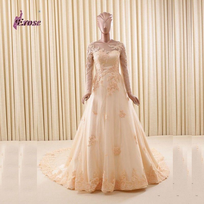 vestidos de noiva Popular A Line Champagne Gold Wedding Dresses ...