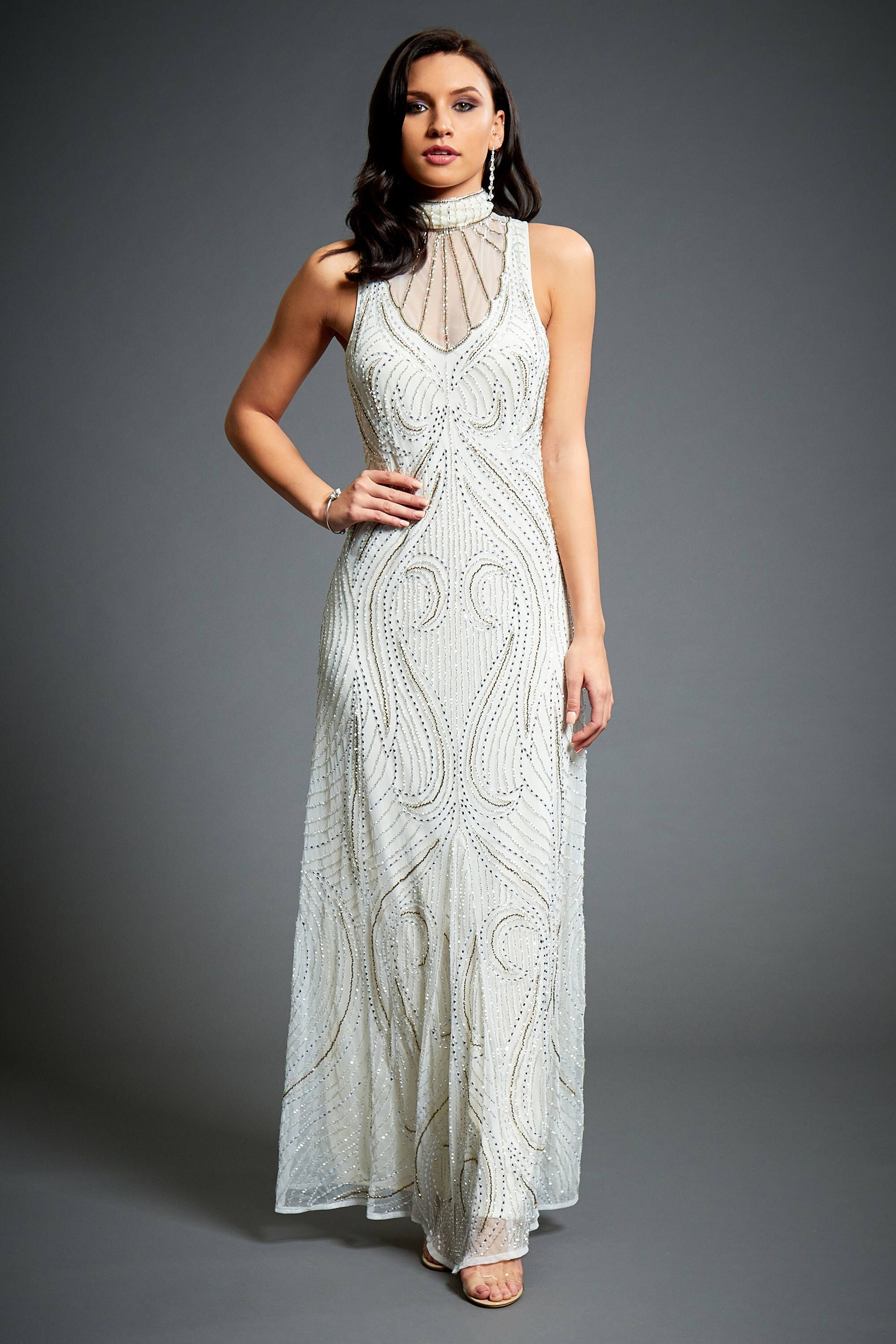 Great gatsby inspired wedding dresses  Florence Off White Flapper s Great Gatsby Inspired Charleston