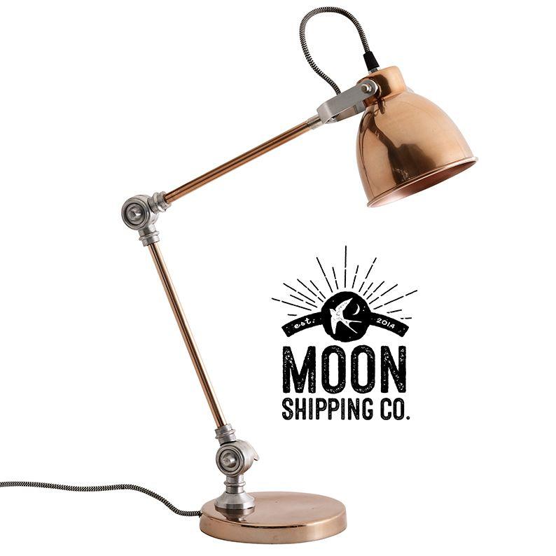 Copper anglepoise desk table lamp