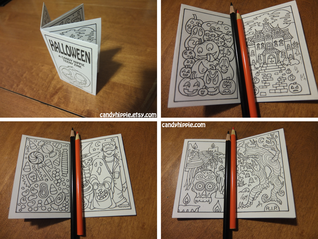 Halloween Teeny Zine All Ages Mini Coloring Book Halloween Coloring Book Coloring Books Zine
