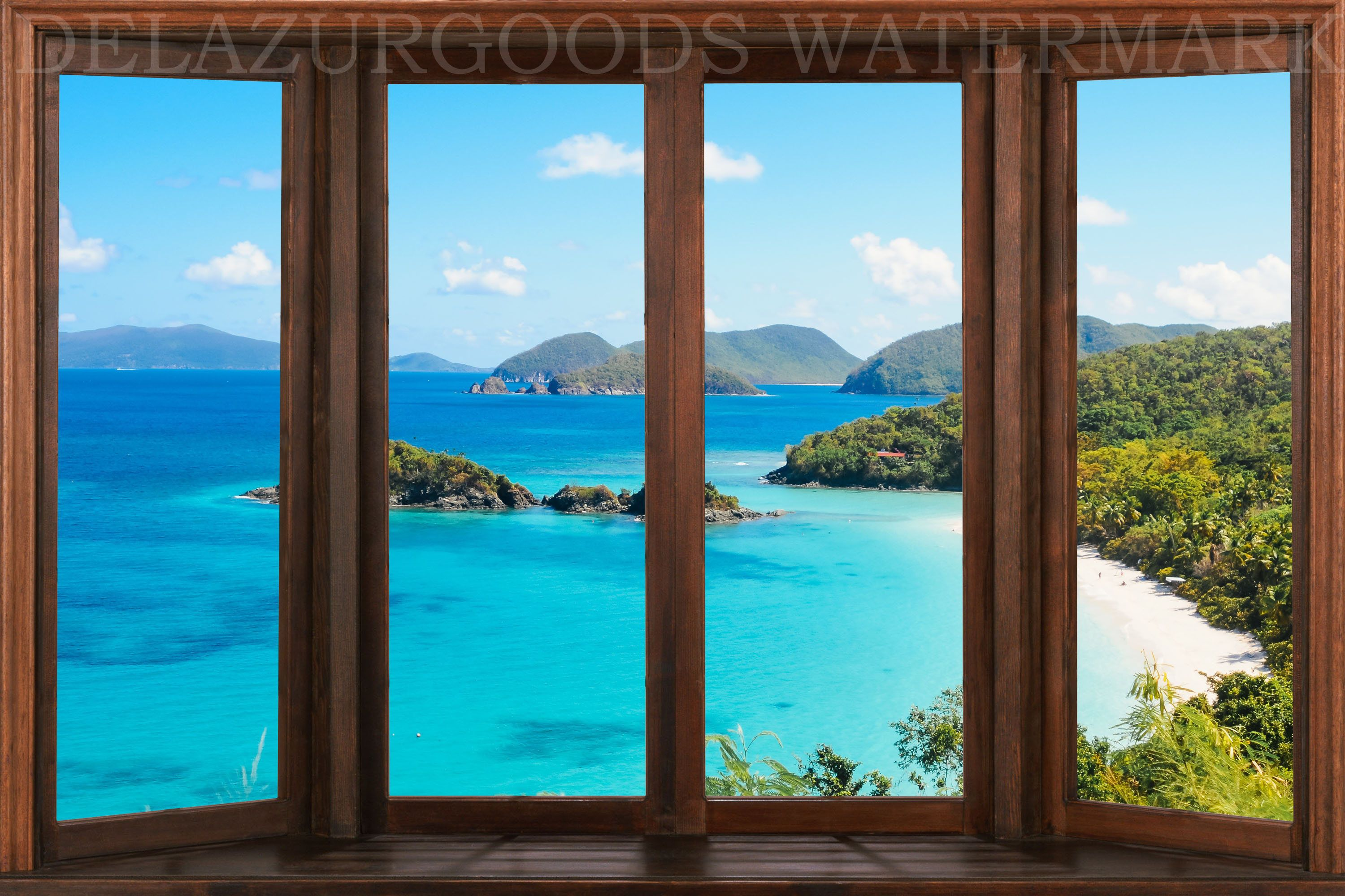 Bay Window View Wallpaper Peel And Stick Removable Etsy Window View View Wallpaper Bay Window