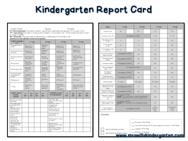 Kindergarten Report Card Free