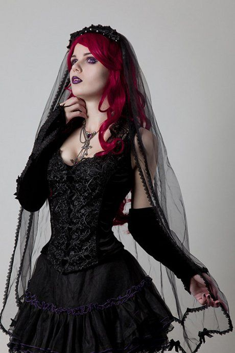 A Gorgeous Long Black Gothic Veil Made From Single Layer Of Mesh Trimmed With