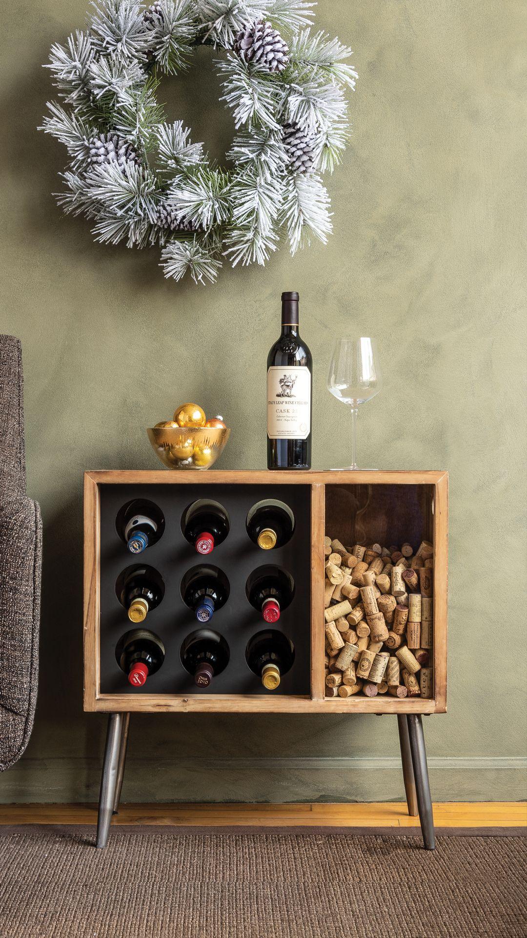 Cork Catcher Side Table With Wine Rack Wine Rack Furniture Wine