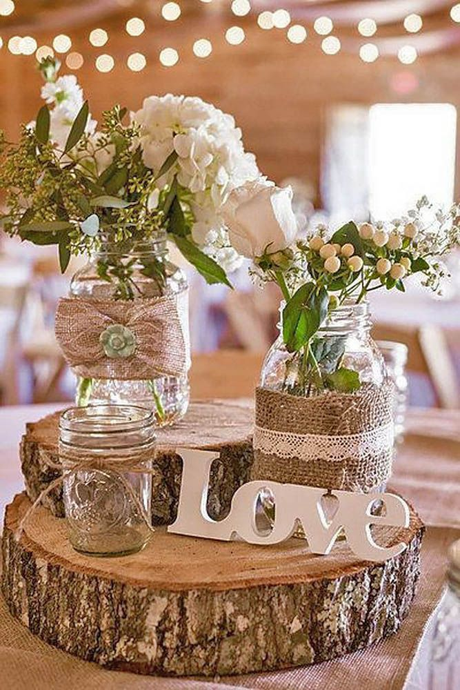 Rustic Barn Wedding Centerpiece