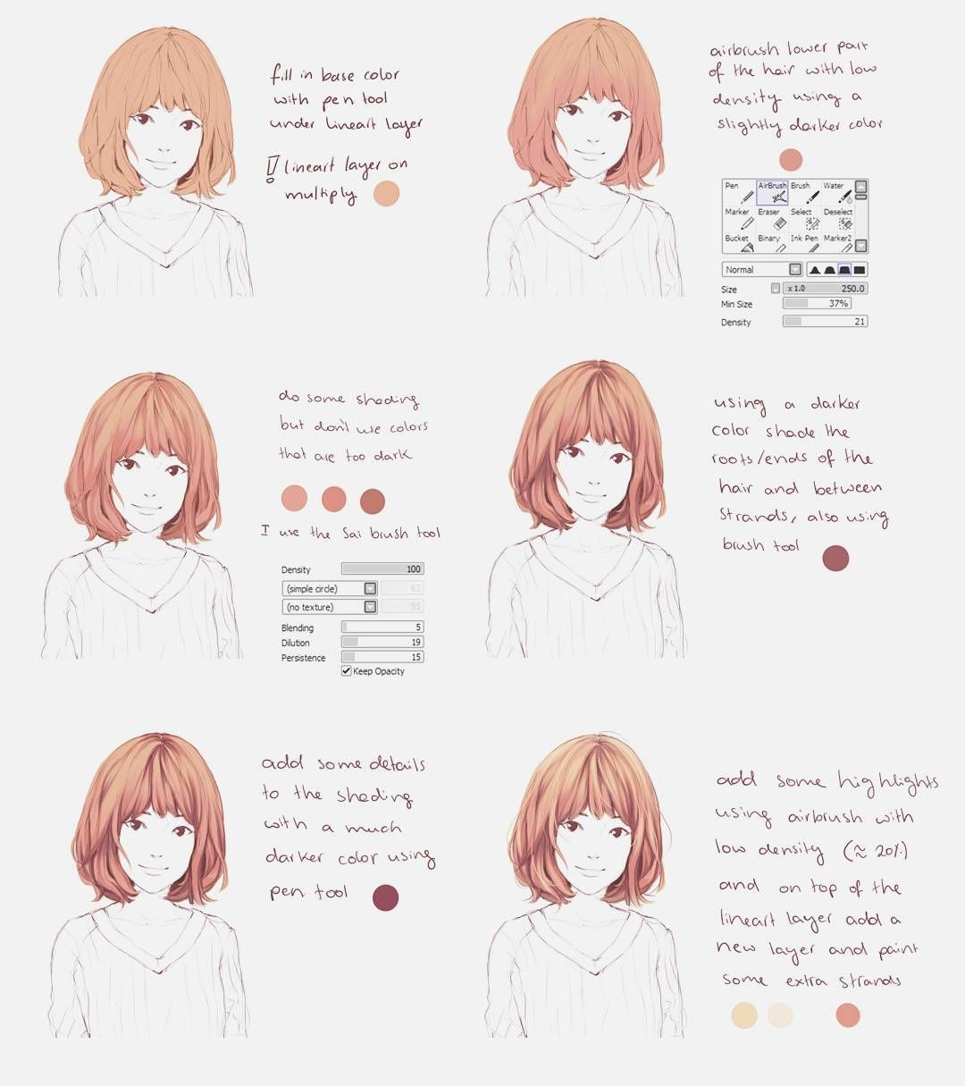 This Is For Paint Tool Sai A Small Hair Coloring Tutorial I Hope This Helps Some Of You Btw Gu Painting Tools Coloring Tutorial Digital Painting Tutorials