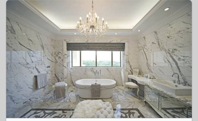 Marble Bathroom . . . Love the Cathedral Ceiling!!