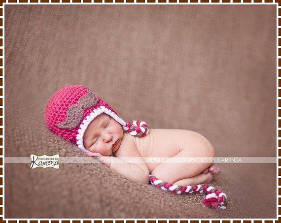 Crochet Mustache Ear Flap Hat Pattern, 8 Sizes from Newborn to Adult ...