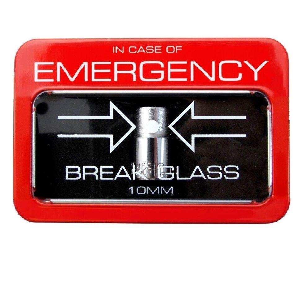 EMERGENCY 10mm Socket In Case of Break Glass Red Mechanic ...