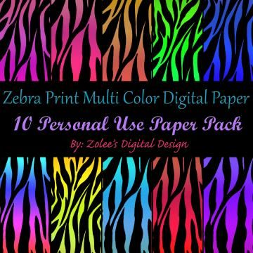 10 Zebra Multi Color - Digital Scrapbook Paper set for Personal Use by ZoleesBoutique for $3.99