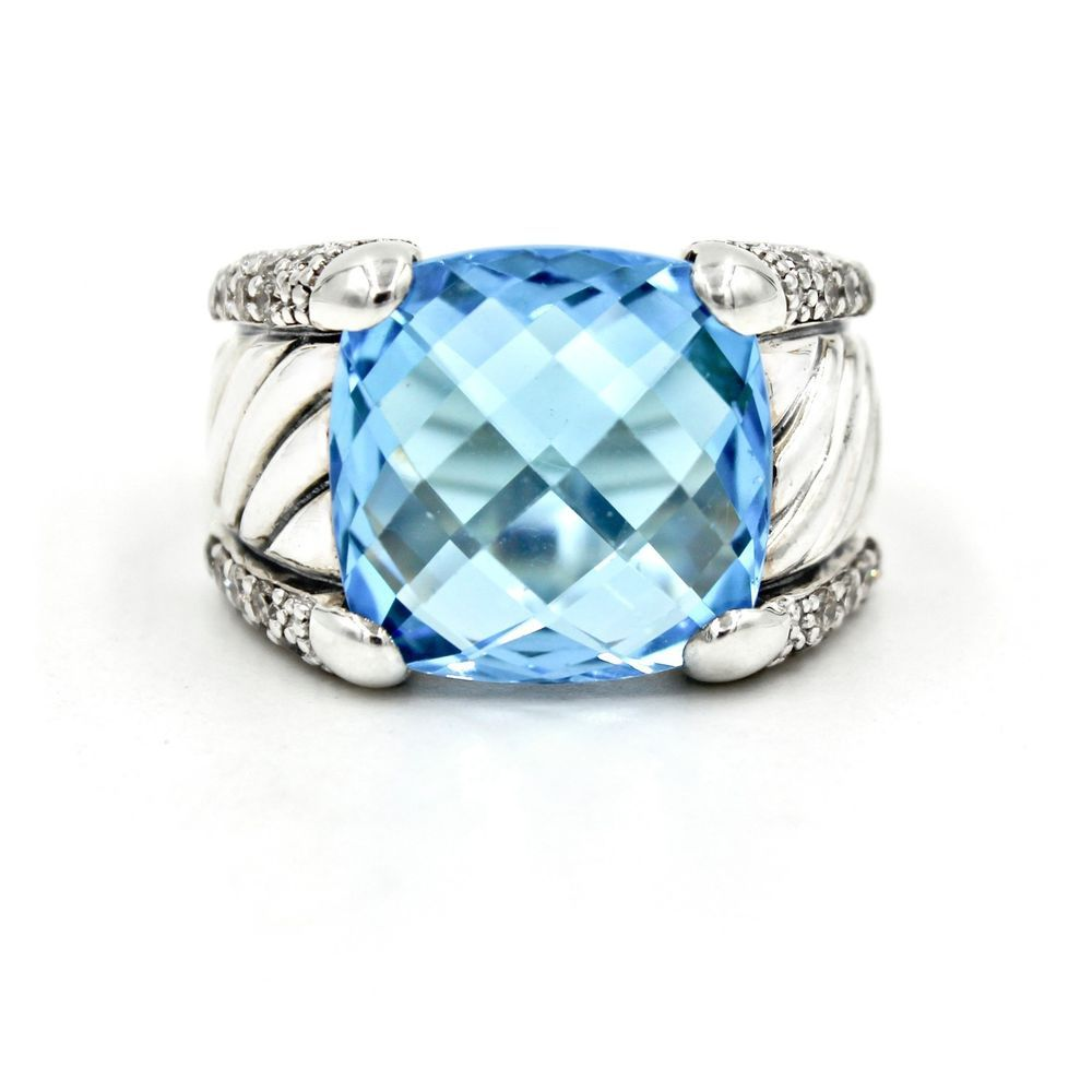 silver jewelry a yellow noblesse and blue topaz rings yurman david gold ring