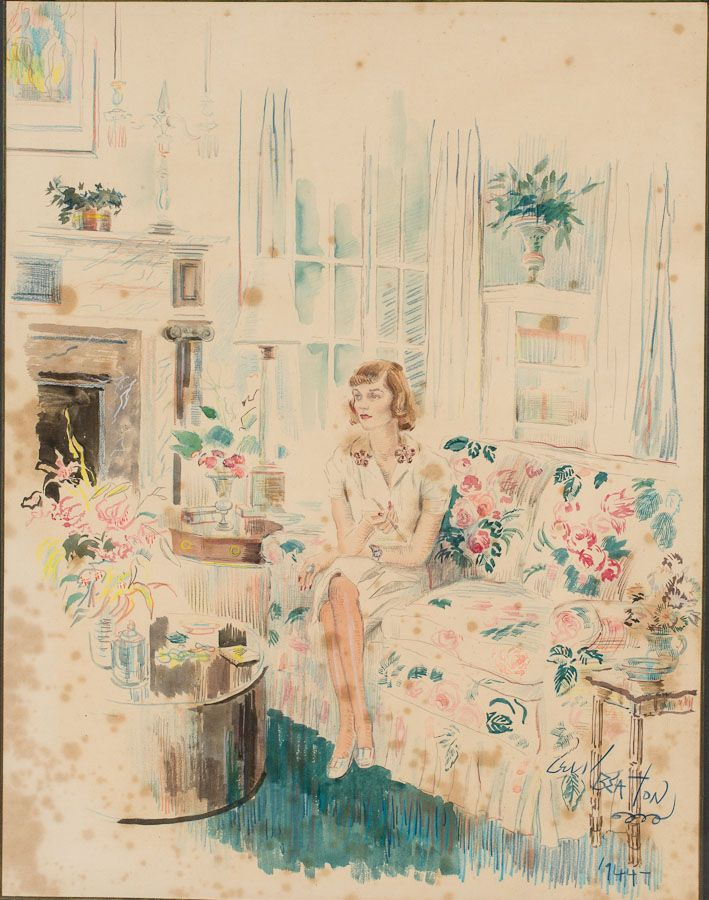 Cecil Beaton (English, 1904-1980),Portrait of Margaret Duke, 1944, Watercolor/Pencil on Paper