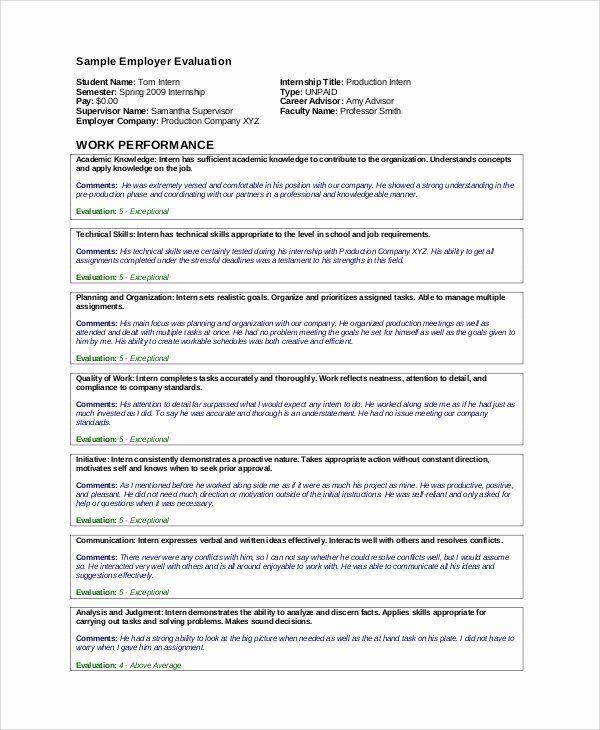 Work Performance Examples Best Of 7 Sample Work