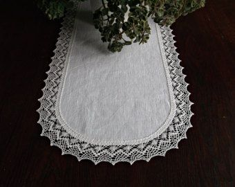72 Long Linen Table Runner Lace Dresser Scarf Natural Light Grey Tablecloth Housewarming Gift Rustic Wedding